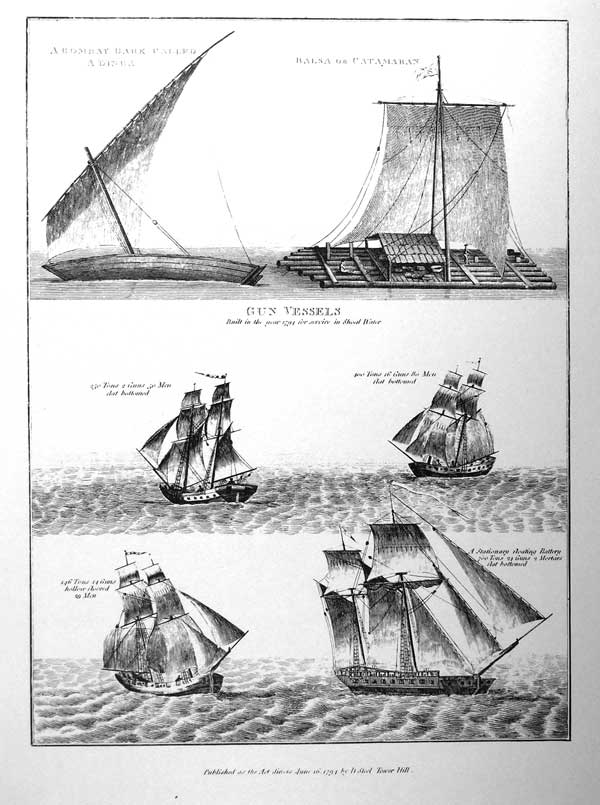 A bombay Bark Called a Dinga, Balsa or Catamaran Gun Vessels Built in the year 1794 for service in Shoal Water 250 Tons, 2 guns, 50 Man, flat bottom 400 Tons, 16 Guns, 80 Man, flat bottom 146 Tons, 14 Guns, hollow floored, 29 Man A stationary floating battery 700 tons, 24 guns, 2 Mortars flat bottom.