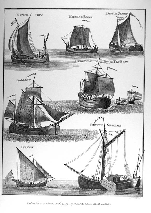 Dutch Hoy, Fishing Bark, Dutch Sloop, Herring Buss or Fly Boat, Galliot, Tartan, French Shallop