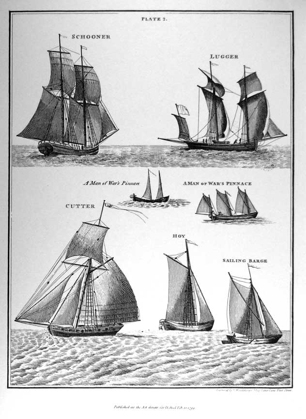 Schooner, Lugger, Cutter, A Man of War's Pinnace, Hoy, Sailing Barge