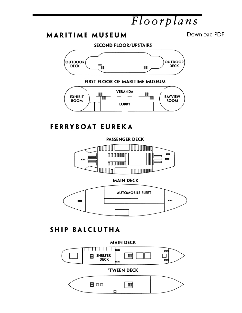 Floorplans of Museum Building, Ferryboat Eureka, and Ship Balclutha