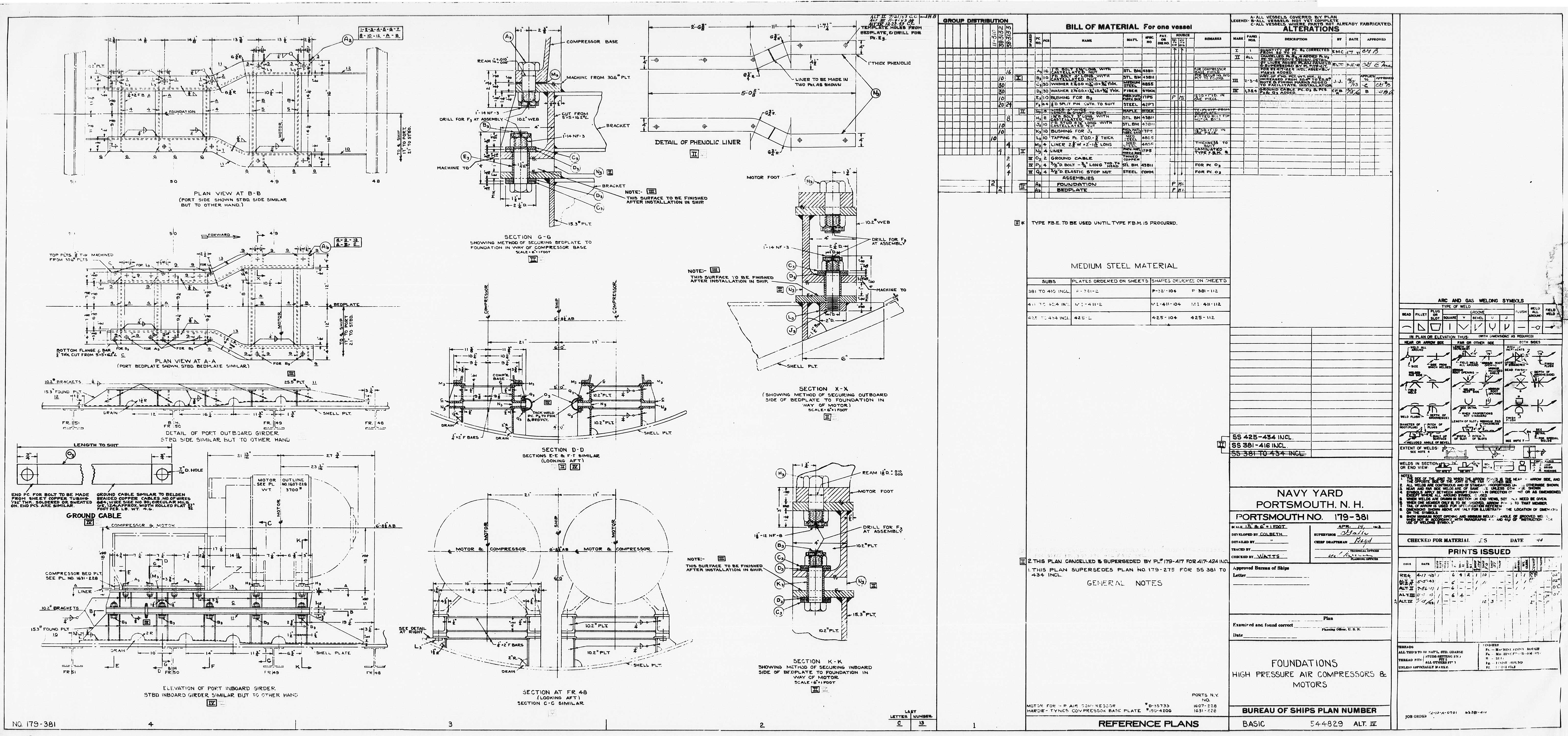 Uss Pampanito High Pressure Air Compressor Drawings Schematic Hp Foundations Basic544829 32429 11 0136