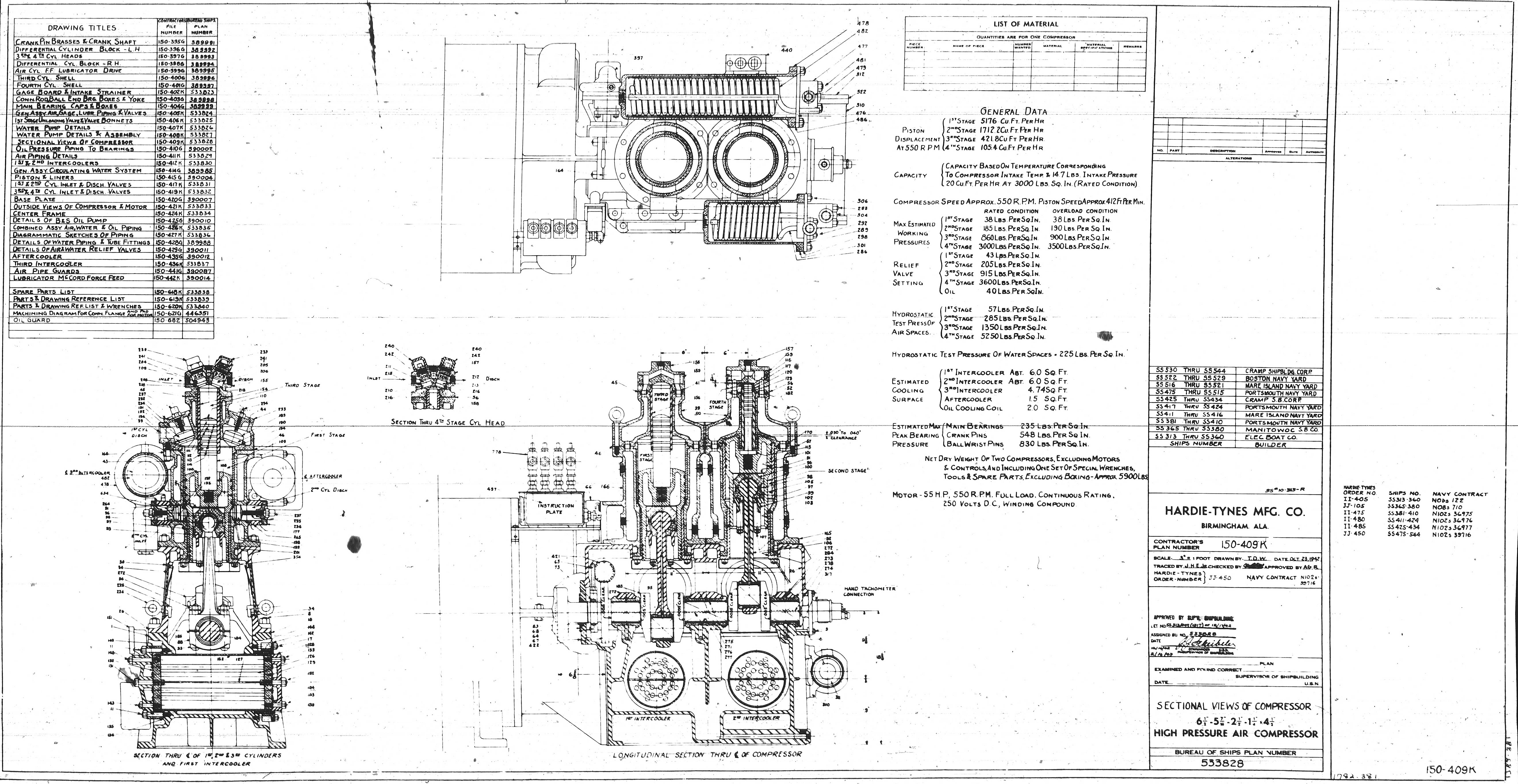 Uss Pampanito High Pressure Air Compressor Drawings