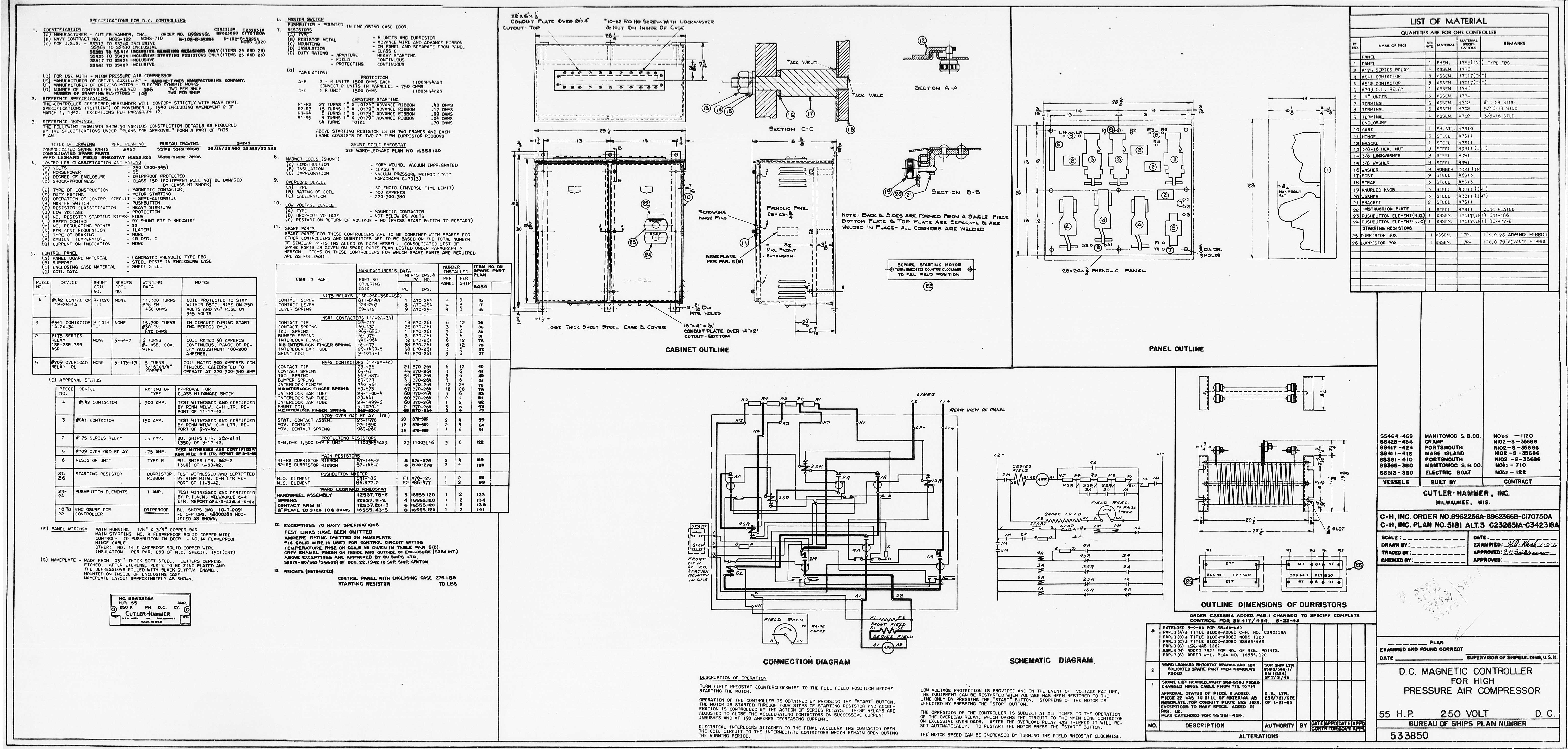 Uss Pampanito High Pressure Air Compressor Drawings Cutler Hammer Schematics Hp Magnetic Controller Basic533850 32429 11 0134