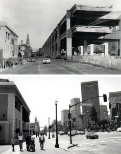 Uncompleted Embarcadero freeway, then and now