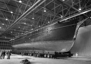 Vessel move to seaplane hangar for restoration